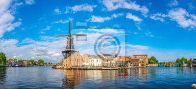 Poster windmill de Adriaan in Haarlem, Netherlands