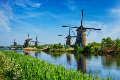 Poster Windmühlen in Kinderdijk in Holland. Niederlande
