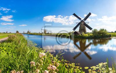 Poster Windmühlen und Kanal in Kinderdijk