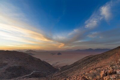 Windswept clouds at sunset in the Namib Desert