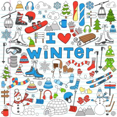 Poster Winter Fun Back to School Notebook Doodles-Vektor-Illustration