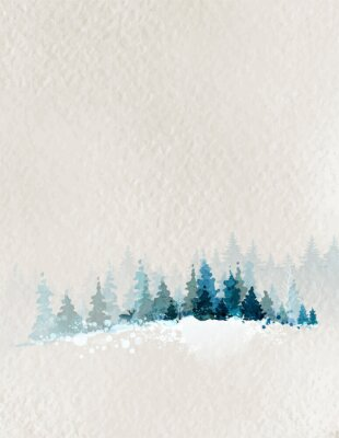 Poster winter landscape with fir forest and deer