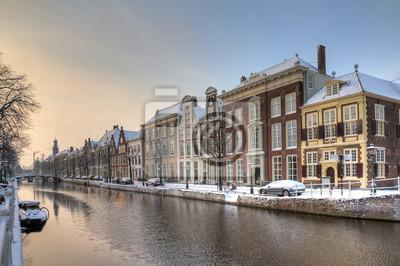 Winter morning at 'Het Rapenburg' in Leiden, the Netherlands. HDR