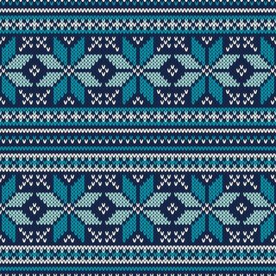 Poster Winter Urlaub Nahtlose Gestrickte Muster. Messe Isle Pullover Desig