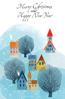 Winterkarte Frohe Weihnachten Frohes Neues Jahr