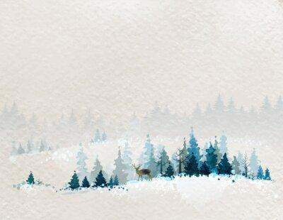 Poster Winterlandschaft mit Tannenwälder und Hirsche
