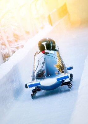 Poster Wintersport - Zweierbob im Eiskanal