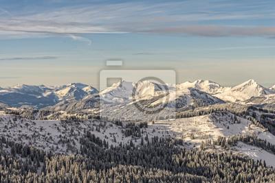 Winterwald am Gebirge