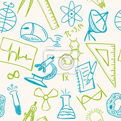 Wissenschaft zeichnungen auf nahtlose muster wandposter • poster ...