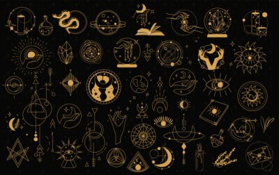 Poster Witch Magic, Mystical and Astrology objects symbols. Doodle esoteric, boho mystical hand drawn elements. Magic and witchcraft, witch esoteric alchemy. Isolated Minimalistic objects.Vector illustration