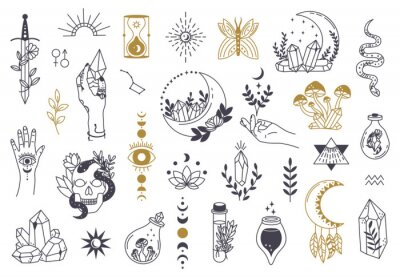 Poster Witch magic symbols. Doodle esoteric, boho mystical hand drawn elements, magic witchcraft crystal, eyes, moon vector illustration icons set. Tattoo alchemy and esoteric, witchcraft magician