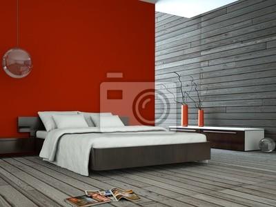 Wohndesign - rotes schlafzimmer wandposter • poster Einrichten ...