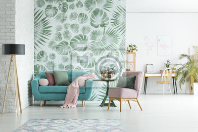 Poster Wohnung mit Blumentapete