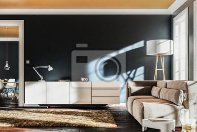 Wohnzimmer blau wandposter • poster Esstisch, Innenräume, Altbau ...