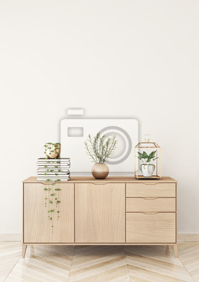 Poster: Wohnzimmer interieur mit kommode und pflanzen auf beige wand