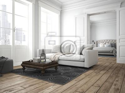 Poster: Wohnzimmer und schlafzimmer in einer altbau wohnung