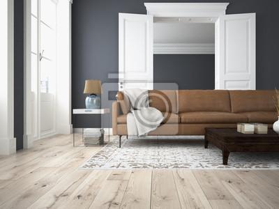 Wohnzimmer Und Schlafzimmer In Einer Altbau Wohnung Wandposter