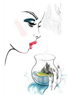 Poster Woman and Island in Glass