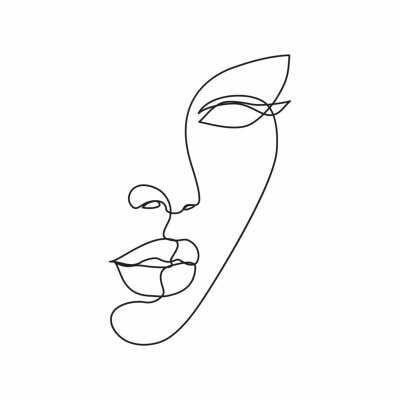 Poster Woman face line drawing art. Abstract minimal female face icon, logo