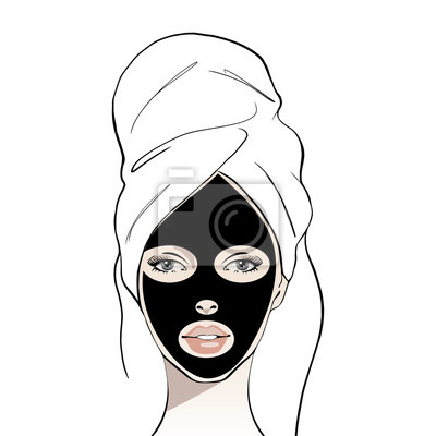 Poster Woman with a cosmetic face black mask. Beautiful young girl face with white towel on her head. Hand drawn woman portrait. Fashion, beauty. Graphic, sketch drawing. Spa concept Vector illustration.
