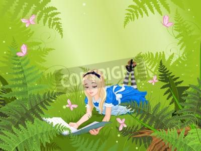 Poster Wonderland Alice ein Buch auf Farn Rasen zu lesen
