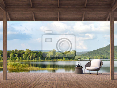 Poster Wood terrace with beautiful lake and mountain view 3d render,There are old wood terrace floor,Decorate with rattan lounge chair,Surrounded by nature