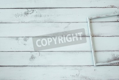 Poster Wooden photo frame on mint shabby chic background
