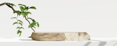 Poster Wooden product display podium with blurred nature leaves background. 3D rendering