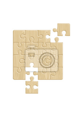poster wooden puzzle muster herausnehmbare stck vector - Puzzle Muster