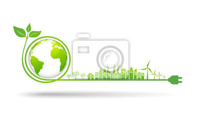 Poster World environment and sustainable development concept, vector illustration
