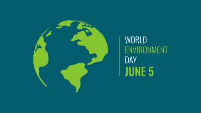 Poster World Environment Day Banner. Eco Concept. Green Planet Earth With Text. Vector illustration