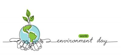 Poster World environment day minimalist vector background with earth in hands and plant. One continuous line drawing. Poster, banner, background with lettering environment day.