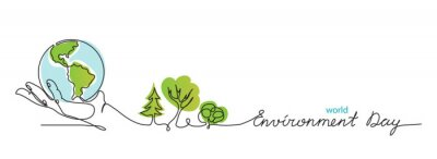 Poster World environment day simple vector web banner, poster with earth and trees. One continuous line drawing. Minimalist banner, illustration with lettering environment day.