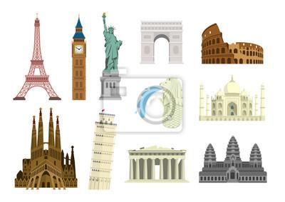Poster World famous buildings vector illustration set ( world heritage ) / Statue of liberty, Eiffel tower, Sagrada Familia etc.