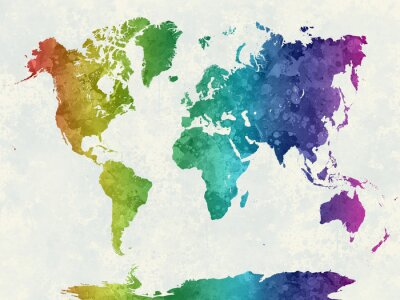 Poster World map in watercolor rainbow
