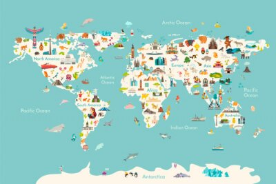 Poster World map vector illustration. Landmarks, sight and animals hand draw icon. World vector poster for children, cute illustrated. Travel concept card