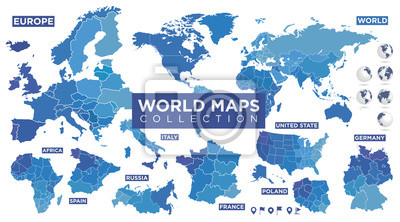 Poster World map with countries