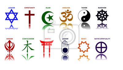 Poster world religion symbols colored signs of major religious groups and religions. easy to modify
