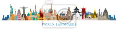 Poster World Skyline Landmarks in Flat Design Style