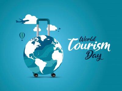 Poster World Tourism Day concept vector illustration. Travel concept background.