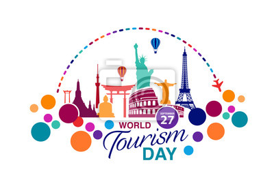 Poster World Tourism Day logo template vector illustration