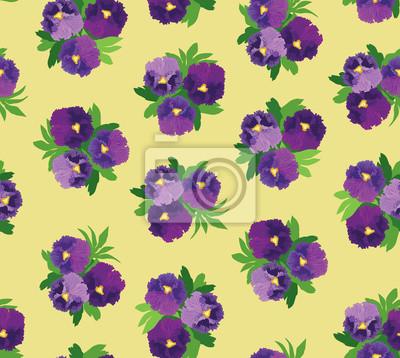 бесшовный фон из фиолетовых цветов анютины глазки, drucken