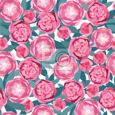 Drucken, бесшовный фон из розовых цветов, букет цветы пиона