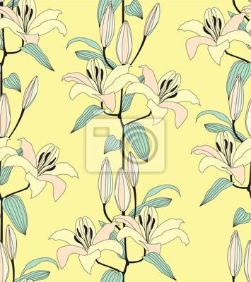 Drucken, бесшовный фон из лилий, букеты желтых цветов,