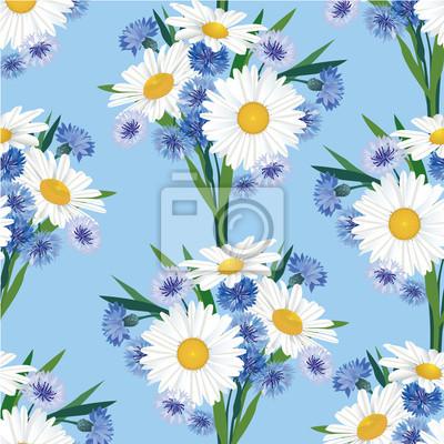 Drucken, бесшовный цветочный фон из ромашек и васильков