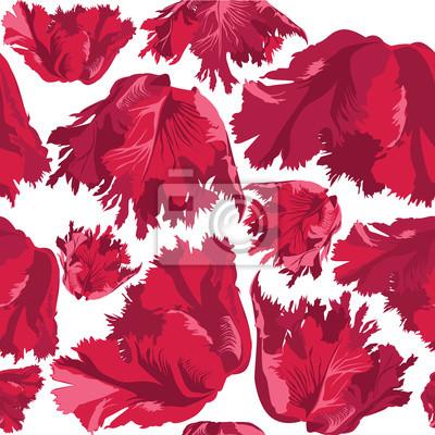 Drucken, бесшовный фон из красных цветов, тюльпаны