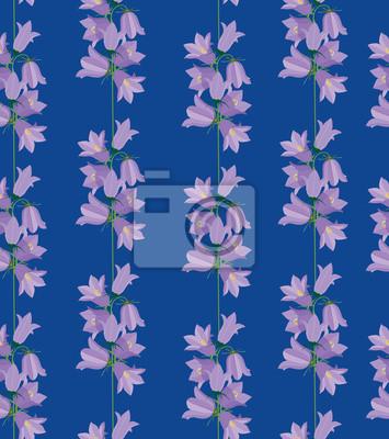 Drucken, бесшовный фон из колокольчиков, полевые цветы