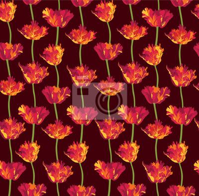 Drucken, бесшовный цветочный фон из тюльпанов