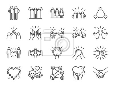 Poster Friendship line icon set. Included icons as friend, relationship,buddy, greeting, love, care and more.