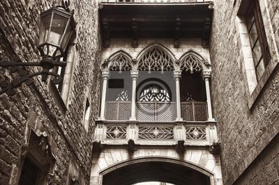 Gotische Viertel in Bishop Street, die Altstadt von Barcelona, Spanien